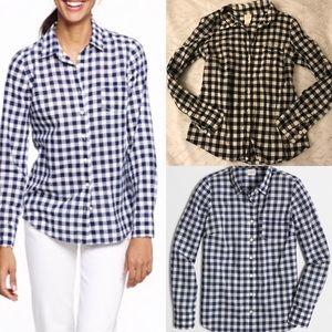 J.crew gingham perfect shirt black white check xs